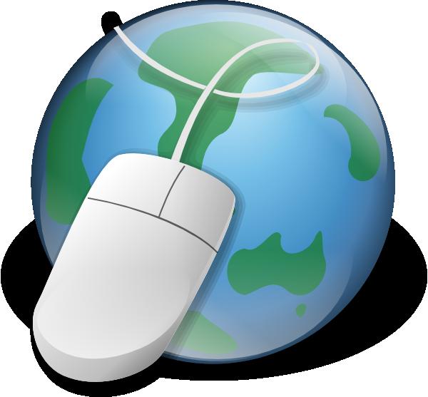 eine Weltkugel und eine Maus als Synonym für das Internet