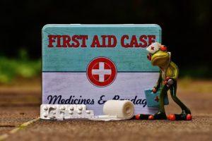 Ein Frosch mit Notfallkoffer in der Hand