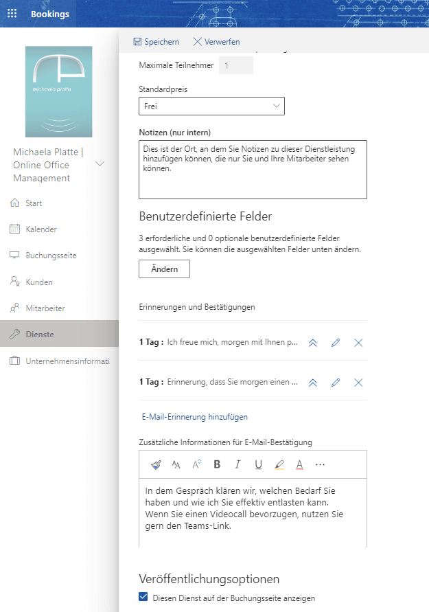 Termine online planen mit MS Bookings - virtuelle Assistenz