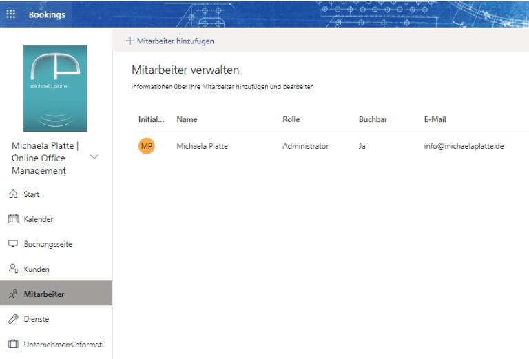 Termine online buchen mit MS Bookings, Mitarbeiter - virtuelle Assistenz