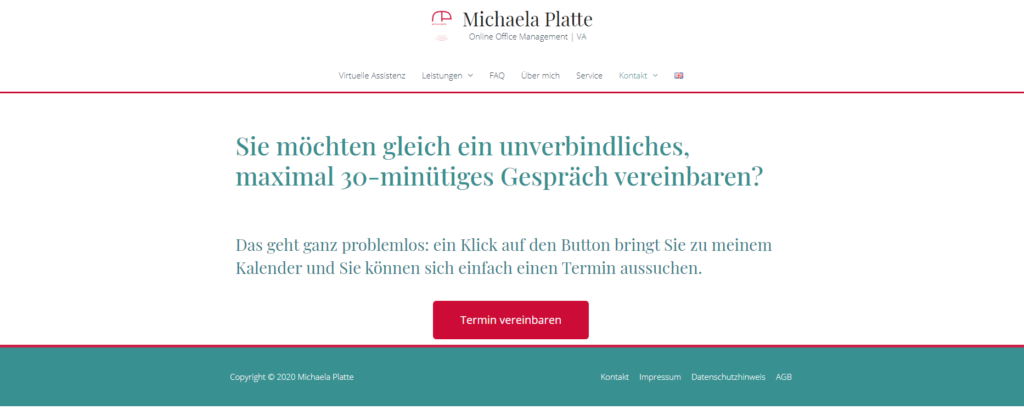 Termine online buchen mit MS Bookings - virtuelle Assistenz, Website Michaela Platte