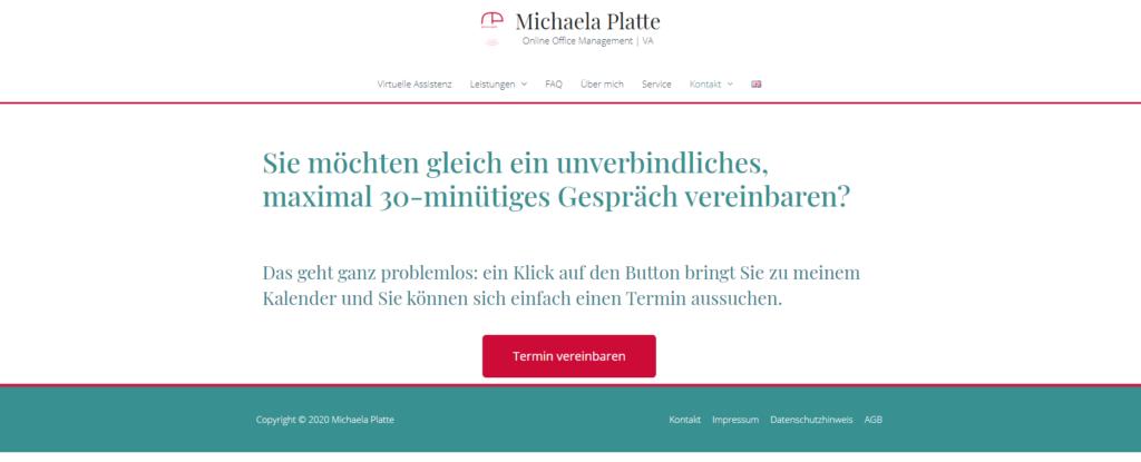 Termine online buchen mit MS Bookings - virtuelle Assistenz, Website Michaela Platte