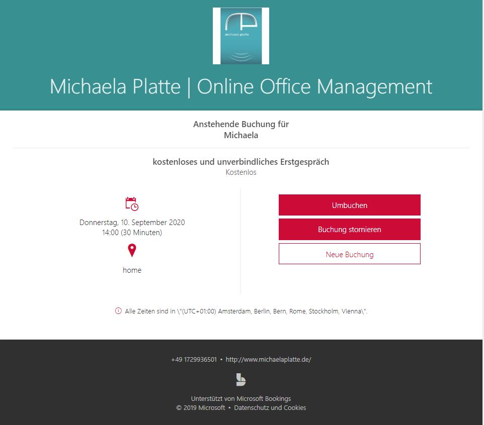 Termine online buchen mit MS Bookings - virtuelle Assistenz, umbuchen