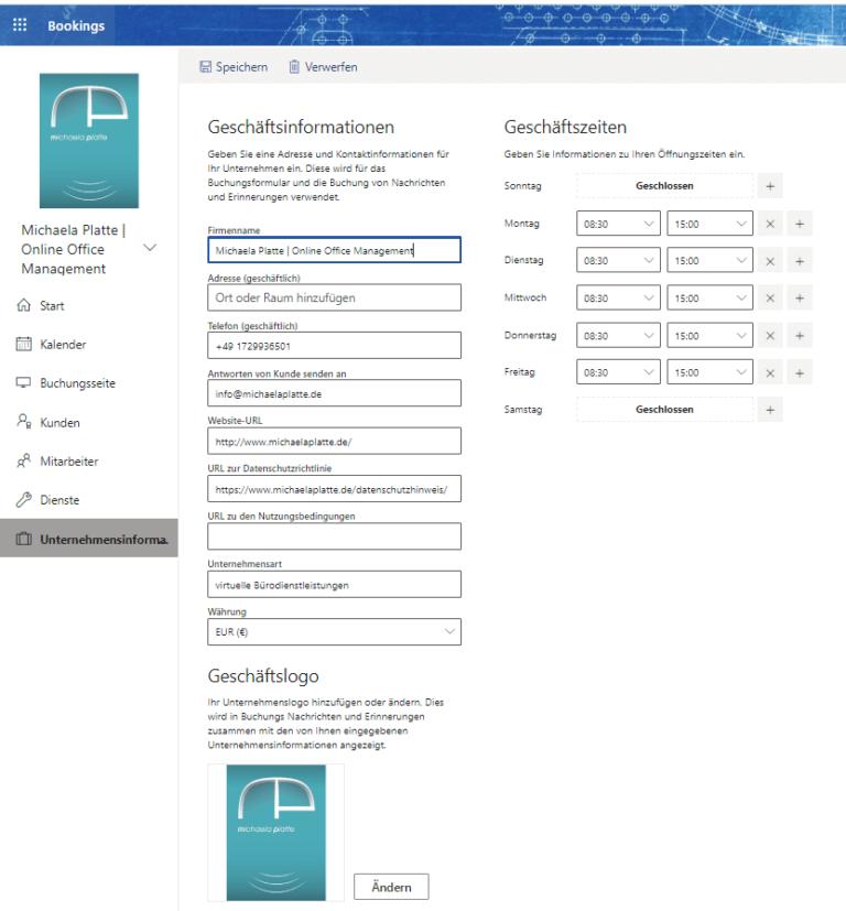 Termine online buchen mit MS Bookings - virtuelle Assistenz, Unternehmensinfo
