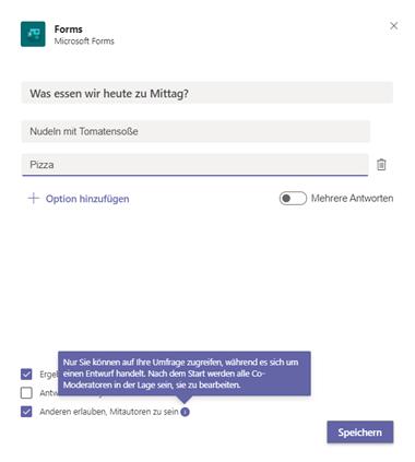 MS Forms Umfrage erstellen in MS Teams Meeting