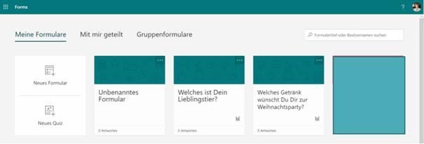 MS Forms Web App Bibliothek